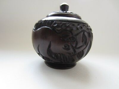 Beautiful Small Wooden African Carved Bowl with Top