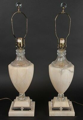 PAIR OF MARBLE LUCITE AND GLASS LAMPS Lot 239