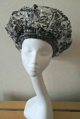 Bespoke Black Damask New Shape Shower Cap