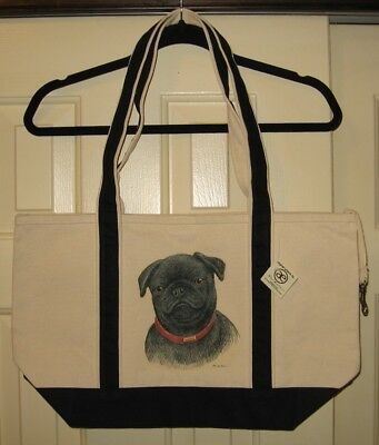 Black Pug Heavy Canvas Tote Bag - Brand New With Tags - Hand Painted- Very Cute!