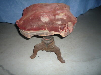 Antique Victorian Piano Stool W/Cast Iron Legs Pat. 1872