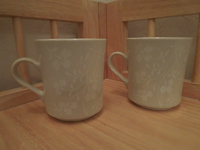 Set of 2 Linear Stoneware White Japan Mugs Cups