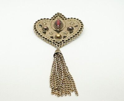 Stunning Art Nouveau Antique Gold Plated Enameled Brooch Pin With Chain Tassel
