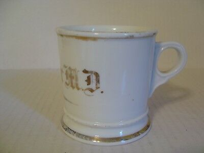 Vintage Heavy Porcelain Shaving Mug White With Gold Bands Imprinted Tk 303 95