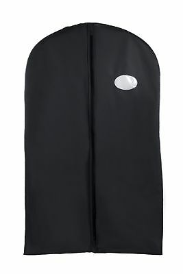 "54"" Black Suit Dress Coat Vinyl Garment Bag Travel Storage Cover Center Zipper"