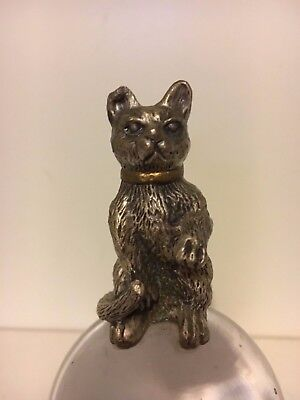 Animal 4 Inch Clear Glass Ball & Cat Metal Paperweight XMAS Gift