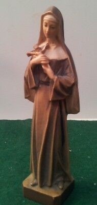 Vtg Hand Carved Black Forest Wood Figurine Nun Holding Cross Anri Style As Is