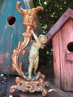 sweet Cupid antique candle holder! SHABBY~chippy Paint! mid 1900's vintage~worn~