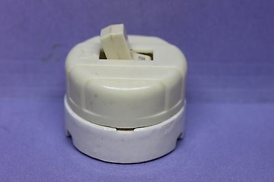 Vintage Eagle Ivory Bakelite/White Porcelain Toggle Light Switch - TESTED, WORKS