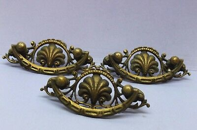 Set of 3 Vintage Victorian Solid Brass Ornate Drawer Pulls Handles - Antique