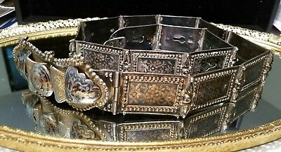 Incredible Antique Turkish Belt Silver Niello Hand Made
