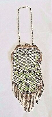 Antique 1920's Art Deco Yellow Green Mesh Purse by Mandalian Mfg Co. Vintage