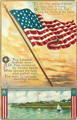Chapman~Patriotic~Base By Water~Sailboat~Poem To Flag Beloved~Gold~Emb~Intl Art