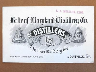 Belle of Maryland Distillery Advertising Card Pure Rye Whiskey Louisville B1S1