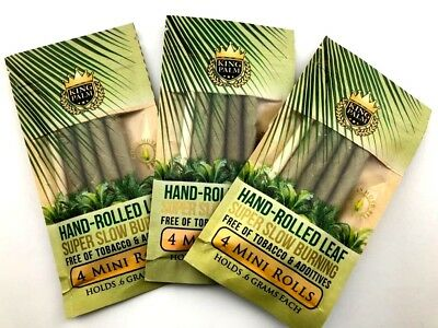 12 King Palm Mini Rolls 100%Tobacco Free All Natural Leaf Rolls+Corn Husk Filter