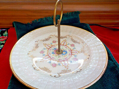 Edwin Knowles China Serving Plate 37-10 Handle 22 Kt Gold Basketweave Surface