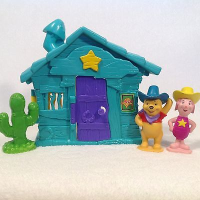 Winnie The Pooh Western Jail House + Cowboy Pooh, Sheriff Piglet, Cactus Figure