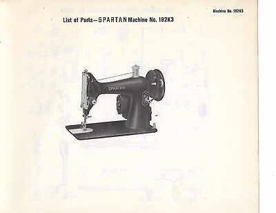 Singer List of Parts for The Spartan 192K3 Sewing Machine W/Accessories JPG