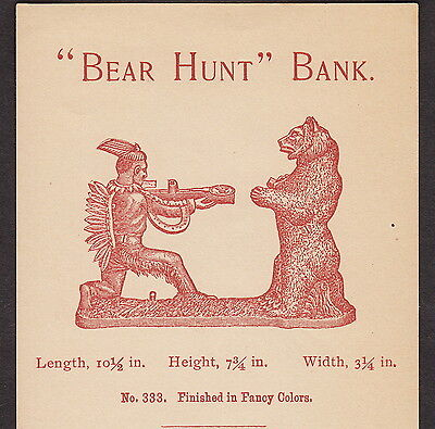 Antique Indian Bear Hunt Toy Mechanical Bank J &E Stevens 1800's old Trade Card