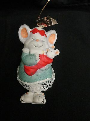 Porcelain Mommy and Baby Mouse Bell