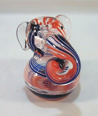 "Glass Sitting Elephant Tobacco Pipe Bubbler 3"" Hand Blown Curved Trunk Bong"