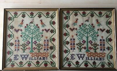 PAIR OF Antique 19th Century Cross Stitch Sampler by E Williams - Framed Glazed