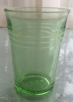 Early Watkins Medical Apothecary Green Depression Glass 'Ward'S Winona Minn'