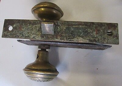Complete Antique Brass Door Knob Combination Set W/lock &  Backplates # 304