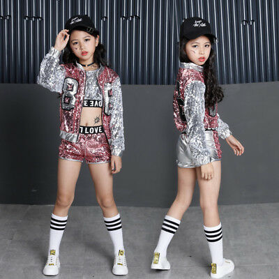 Girls Sequin Ballroom Jazz Hip Hop Dance Costumes Tank Tops Shorts Jackets Coats