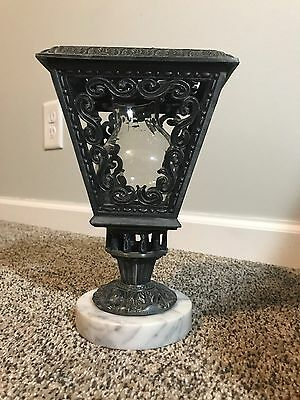 Antique Spelter like Metal Victorian Style Street Lamp Candle-Holder Marble Base
