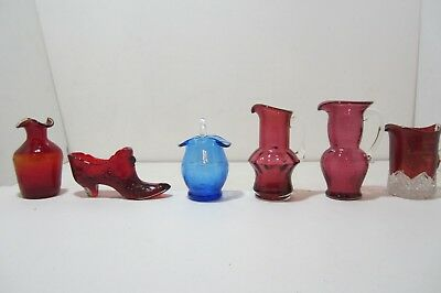 Set of 6 Assorted Glassware Crackle Glass/Flash Glass/Fenton Red Glass Shoe