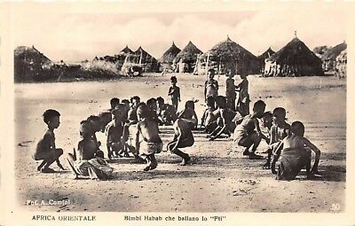 """ERITREA, AFRICA, HABAB NATIVE CHILDREN DANCING THE """"FTI"""" REAL PHOTO PC c 1930's"""