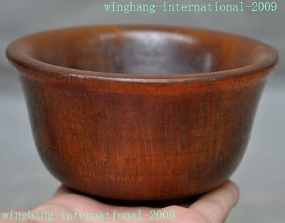"""2""""Collect old Chinese Antique Dynasty Palace Ox horn Carving Drinking Cup Bowl"""