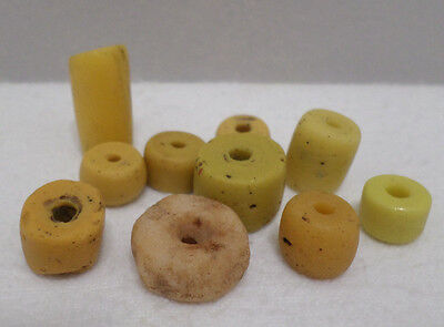 Antique African Powder Glass Trade Beads Yellow Various Sizes