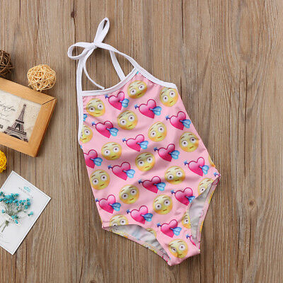 AU Kids Baby Little Girl Emoji Strap Swimsuit Swimwear Beachwear Outfits Summer