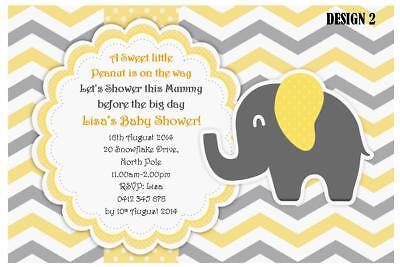1 x UNISEX YELLOW & GREY BABY SHOWER ELEPHANT PERSONALISED INVITATIONS + MAGNETS