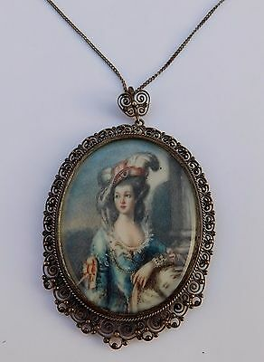 Antique Italian Silver Lace Filigree Cannetille Hand Painted Miniature Portrait