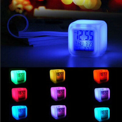 Digital Alarm Thermometer Night Glowing Cube 7 Colors Clock LED Change Time LCD