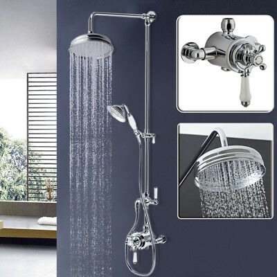 Round Chrome Traditional Overhead Rain Shower Kit Dual Rigid Riser Hand  Held Set