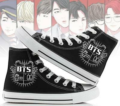 BTS Hand Painted Canvas Shoes High Help Colored Drawing Casual Academy Sport