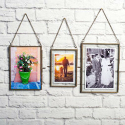 Antique Brass Picture Photo Frame Glass+Metal Portrait Industrial Vintage Decor