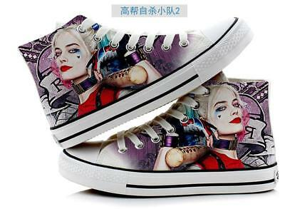 Harley Quinn Joker Hand Painted Canvas Shoes High Help Colored Drawing Casual