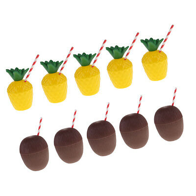 10pcs Hawaii Tropical Pineapple Coconut Drink Cups + Straw Summer Luau Party