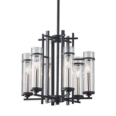 Feiss Ethan 6 Light Antique Forged Iron / Brushed Steel Chandelier