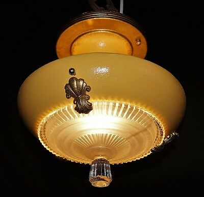 Vintage Deco Era Victorian Chandelier Light Fixture Original Ornate Glass Shade