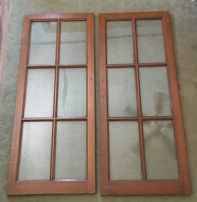 "Antique Cabinet Door Lite Glass Bookcase Window Vintage Display 45.5"" 6 Pane"