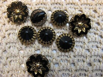 antique LOT of 8 black & gold glass sewing buttons~1900's~different styles~sizes