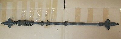 "Fine Antique 42"" Wrought Iron Curtain Rod W/rings  From Tudor Home # 16"
