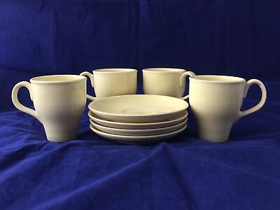RUSSEL WRIGHT  Iroquois Set of 4 Mugs and Saucers Vintage Yellow Pottery Cups