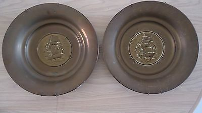 """Two Vintage Brass Wall Hanging Plates Nautical Ship Boat Galleon 14 1/4"""" Patina"""